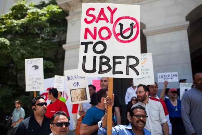 """הפגנה של נהגי מונית בארה""""ב נגד אובר"""